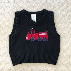 Wonder Kids Firetruck Sweater Vest Black Red 18M